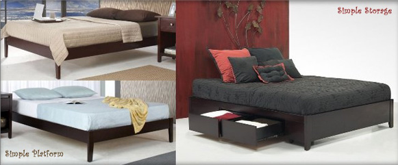 Simple platform bed and platform bed with storage