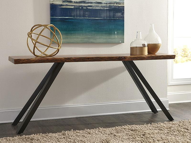 raw edge acacia wood table